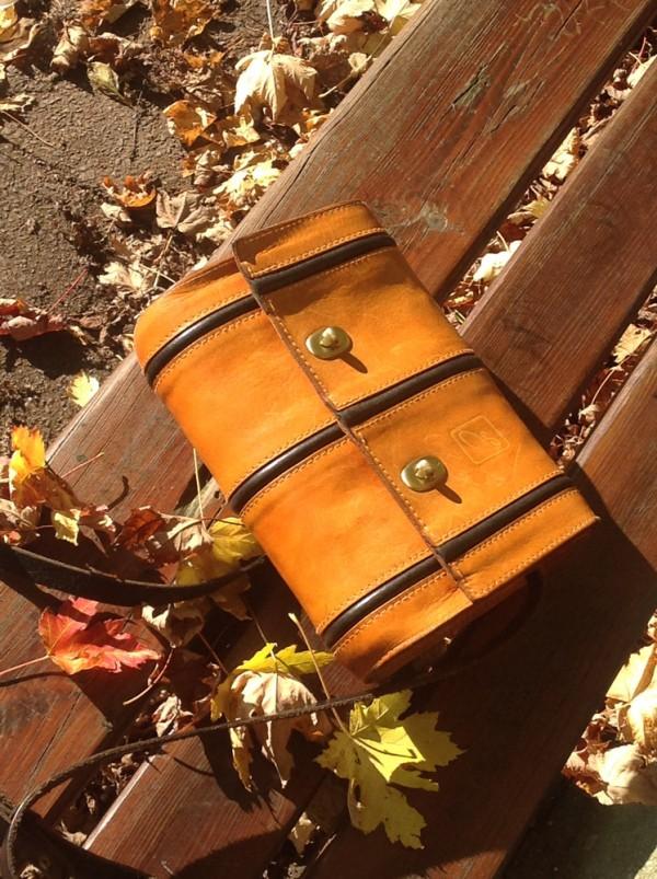 Orangefarbene Tasche auf Bank mit Herbstblättern.