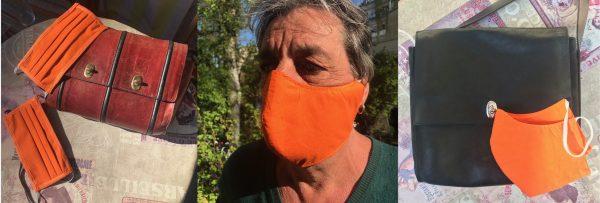 Masken und Ledertaschen